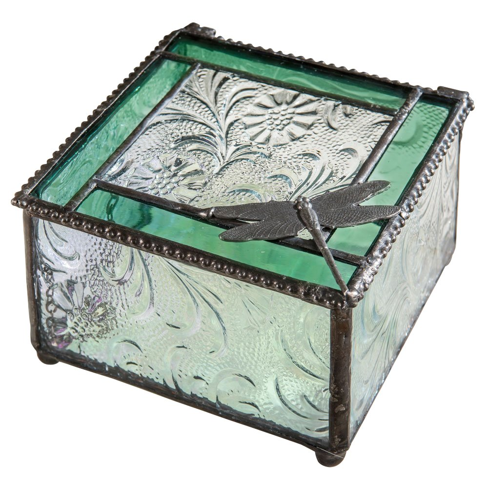 J Devlin Box 141 Green Glass Trim and Dragonfly Embellished Jewelry Keepsake Box
