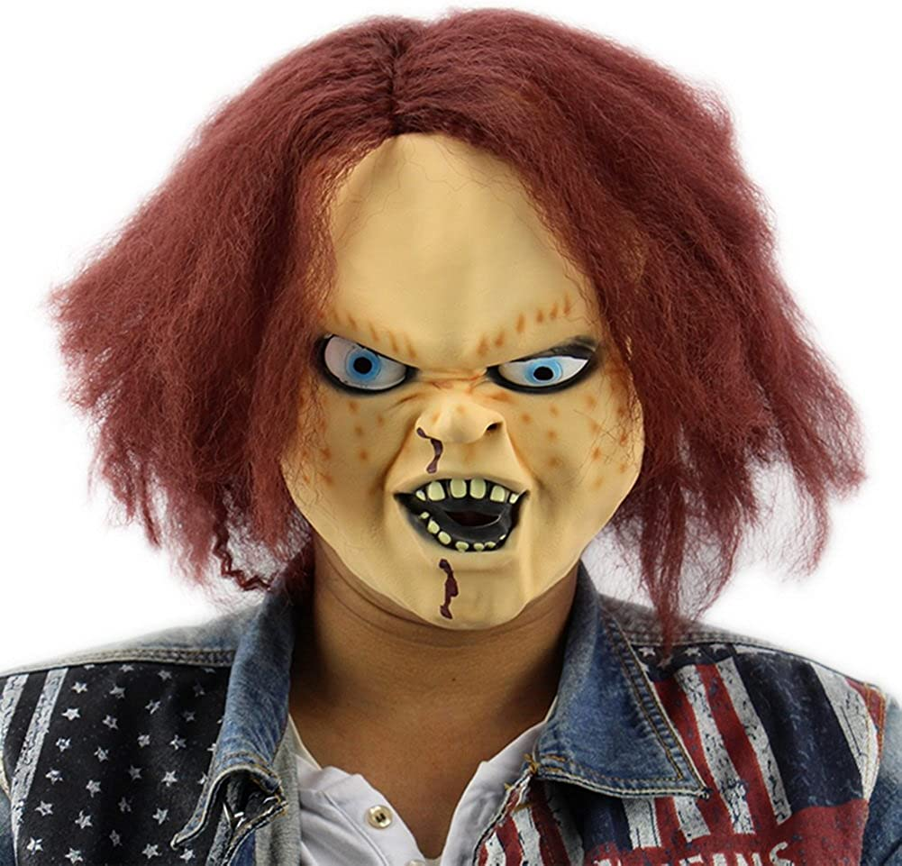 Najer Halloween Horror Latex Mask Childs Play Chucky Action Figures for Masquerade Bar Party Red