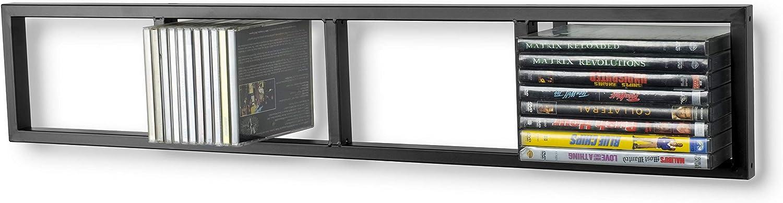 You-Have-Space Modern Wall Mount Cd DVD Media Rack Storage Metal Shelf Organizer (Black)