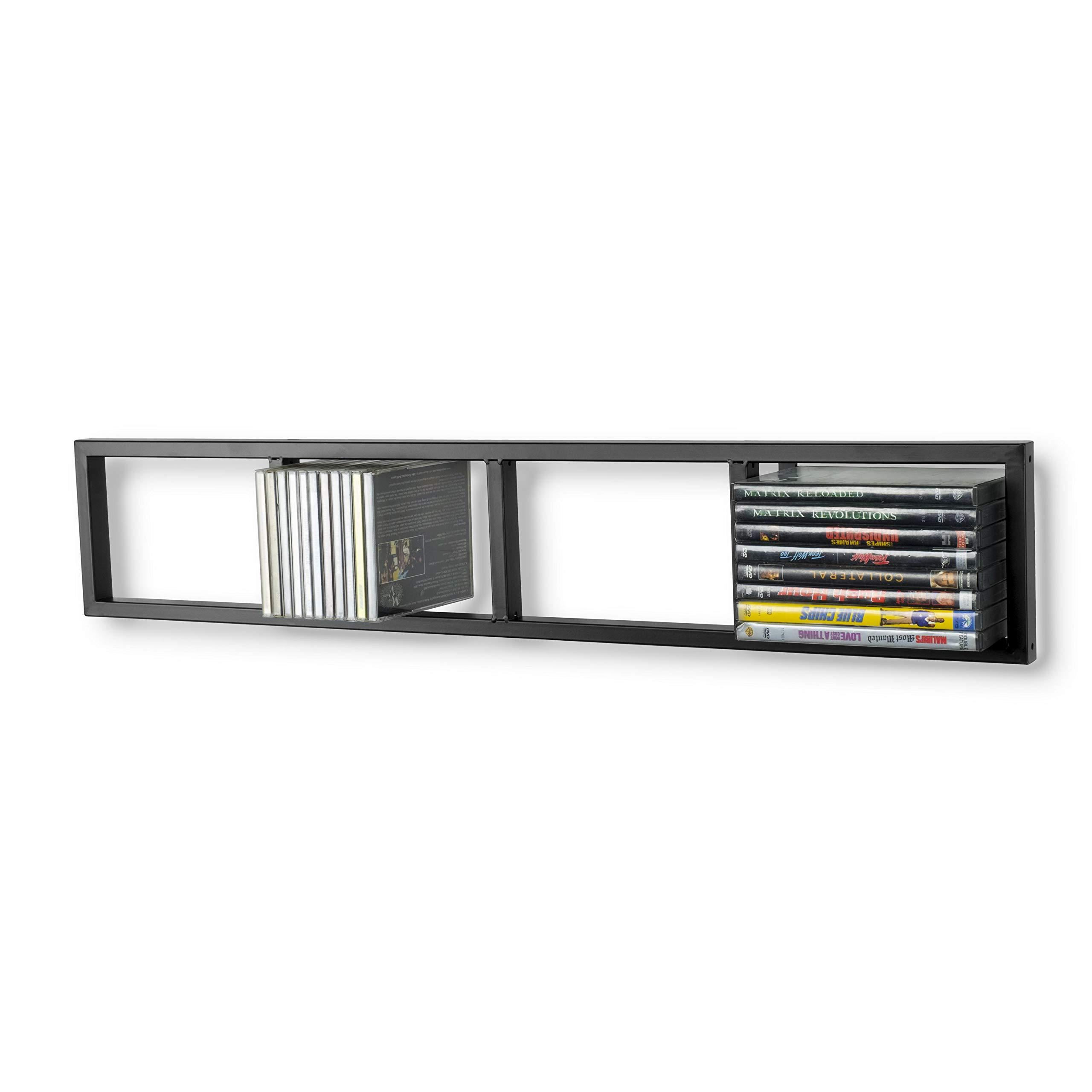 Modern Wall Mount Cd DVD Media Rack Storage Metal Shelf Organizer (Black) by BHG