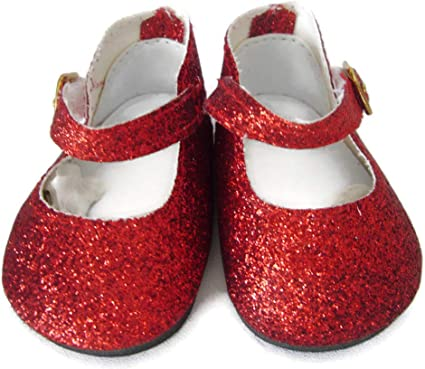 Red Glitter Shoes fit American Girl Doll 18 Inch Clothes Seller lsful