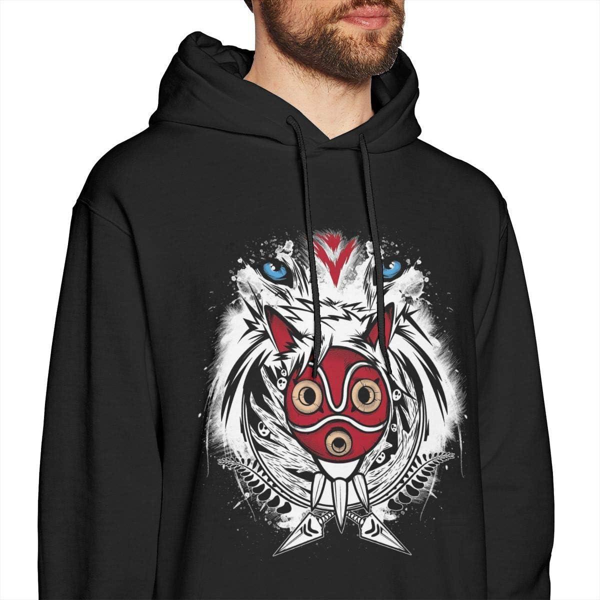 zhkx The Wolf Tribe Prinzessin Mononoke Herren Pullover Hoodies Rundhals-Sweatshirt mit Rundhalsausschnitt Schwarz Small|style3