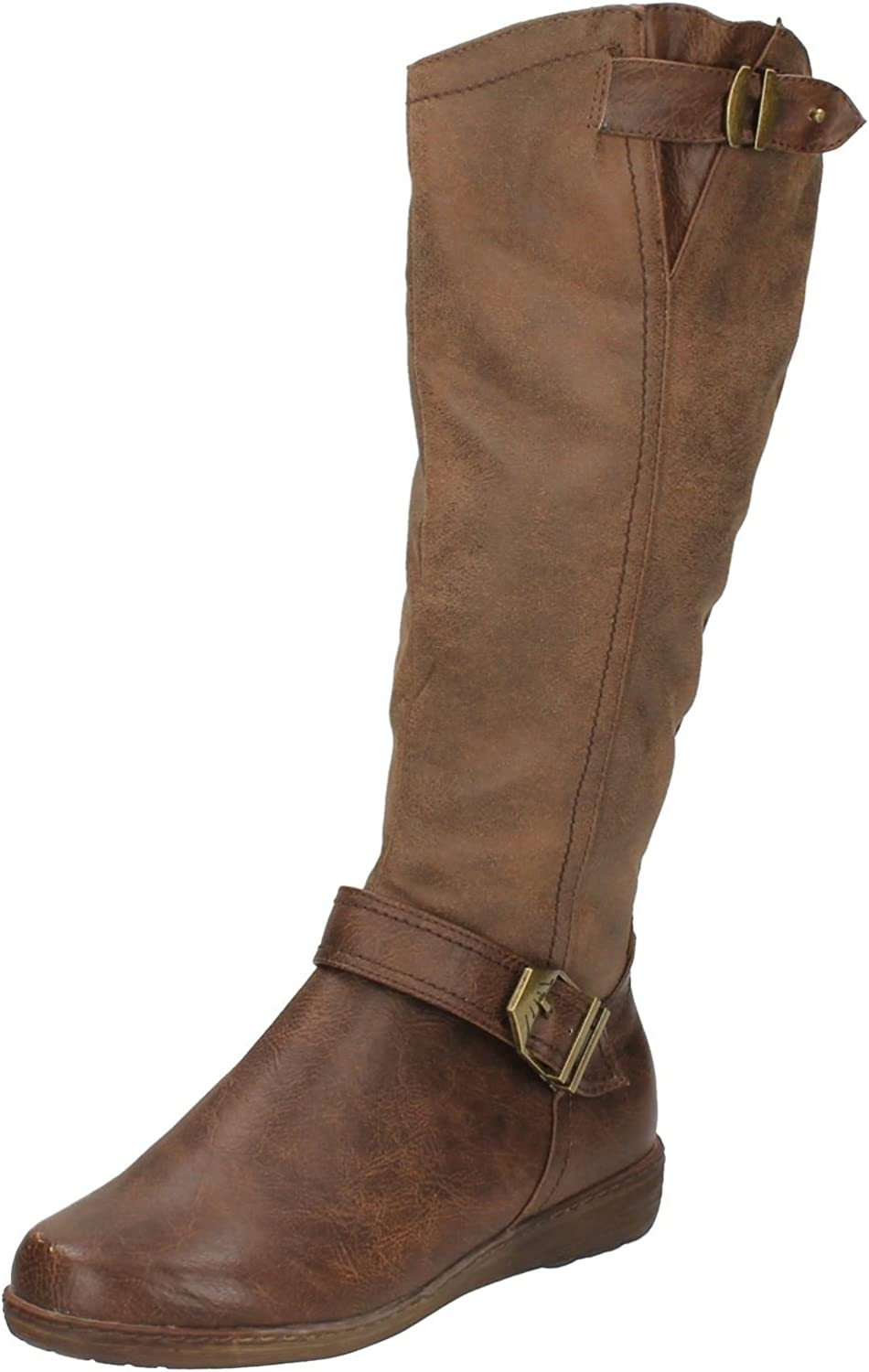 Ladies Spot On Casual Long Boots F50330