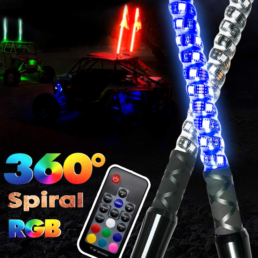 2pcs 3ft GTP Spiral LED Whip Lights 360/° Twisted 20 Color RGB 21 Modes Lighted Whips Antenna W//Flag for UTV ATV Polaris RZR Quad Off Road Jeep Can-am Maverick Yamaha Sand Dune Buggy 4X4