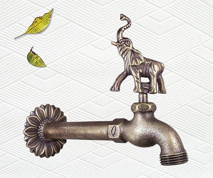 Decorativo latón macizo elefante jardín al aire libre grifo – con un latón conector: Amazon.es: Jardín