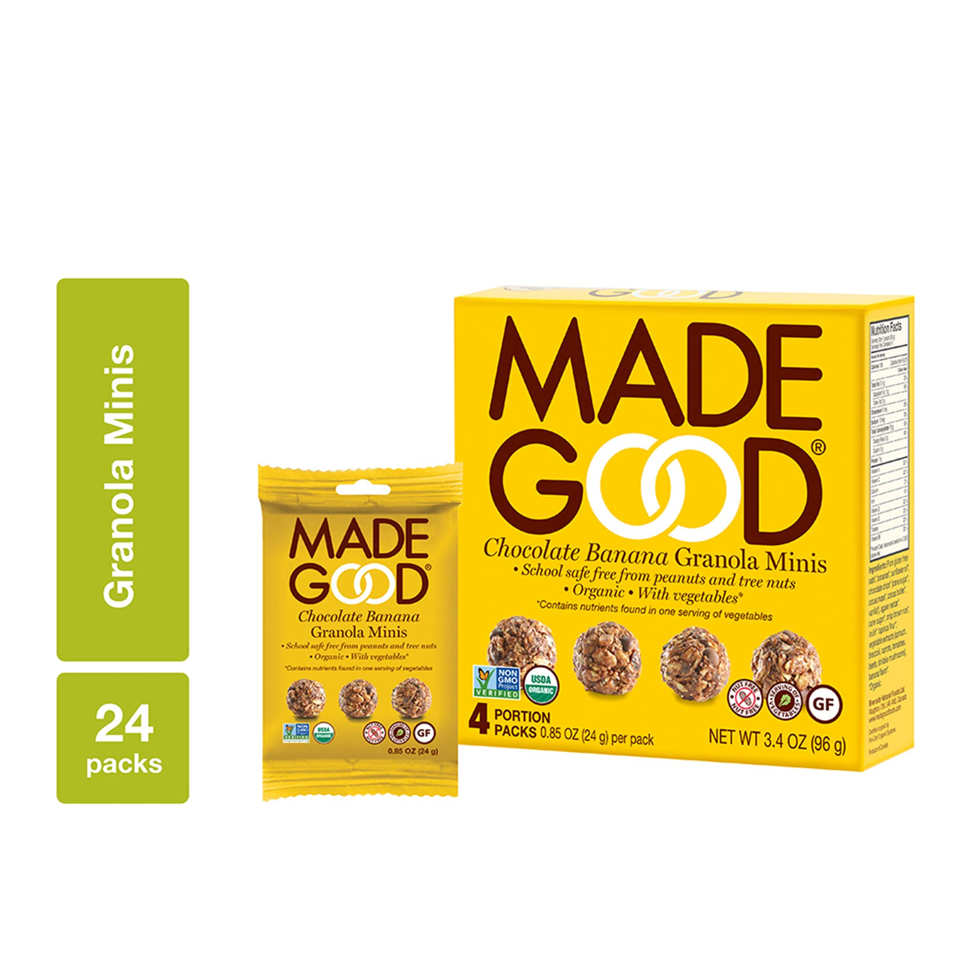 MadeGood Chocolate Banana Granola Minis, 6 Boxes (24 count); Wholesome and Delicious Bite-Sized Snacks; Organic and Made with Allergy Friendly Ingredients; Ideal for School Safe Lunches and Snacks