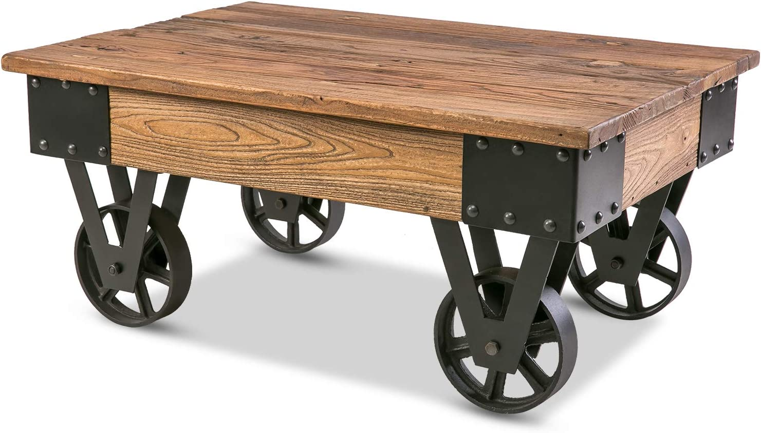- Amazon.com: Rustic Country Coffee Table With Metal Wheels, TV