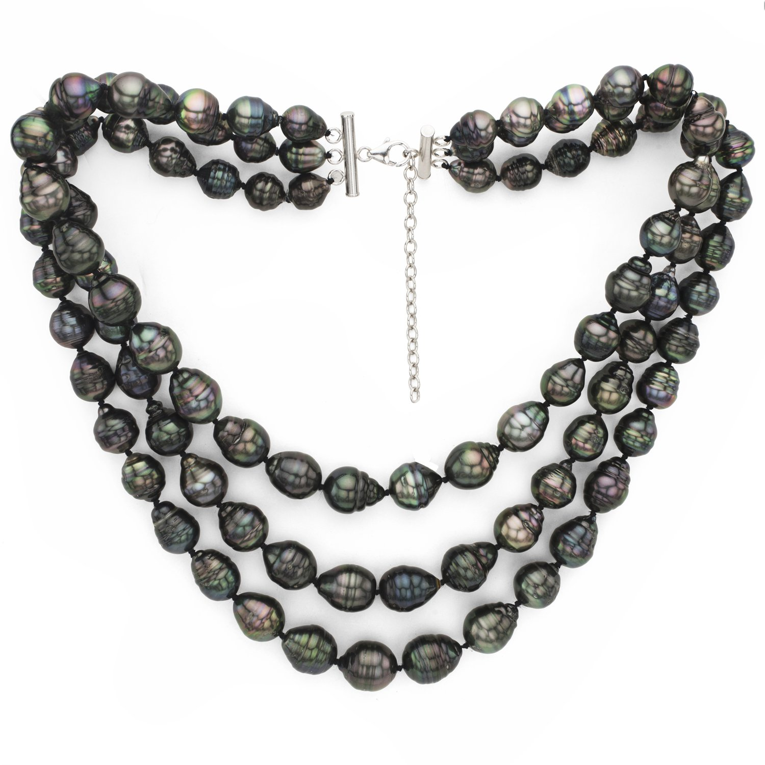 Sterling Silver 3-Rows 8-10mm Black Baroque Tahitian Cultured Pearl Necklace, 16'' + 2'' Extender