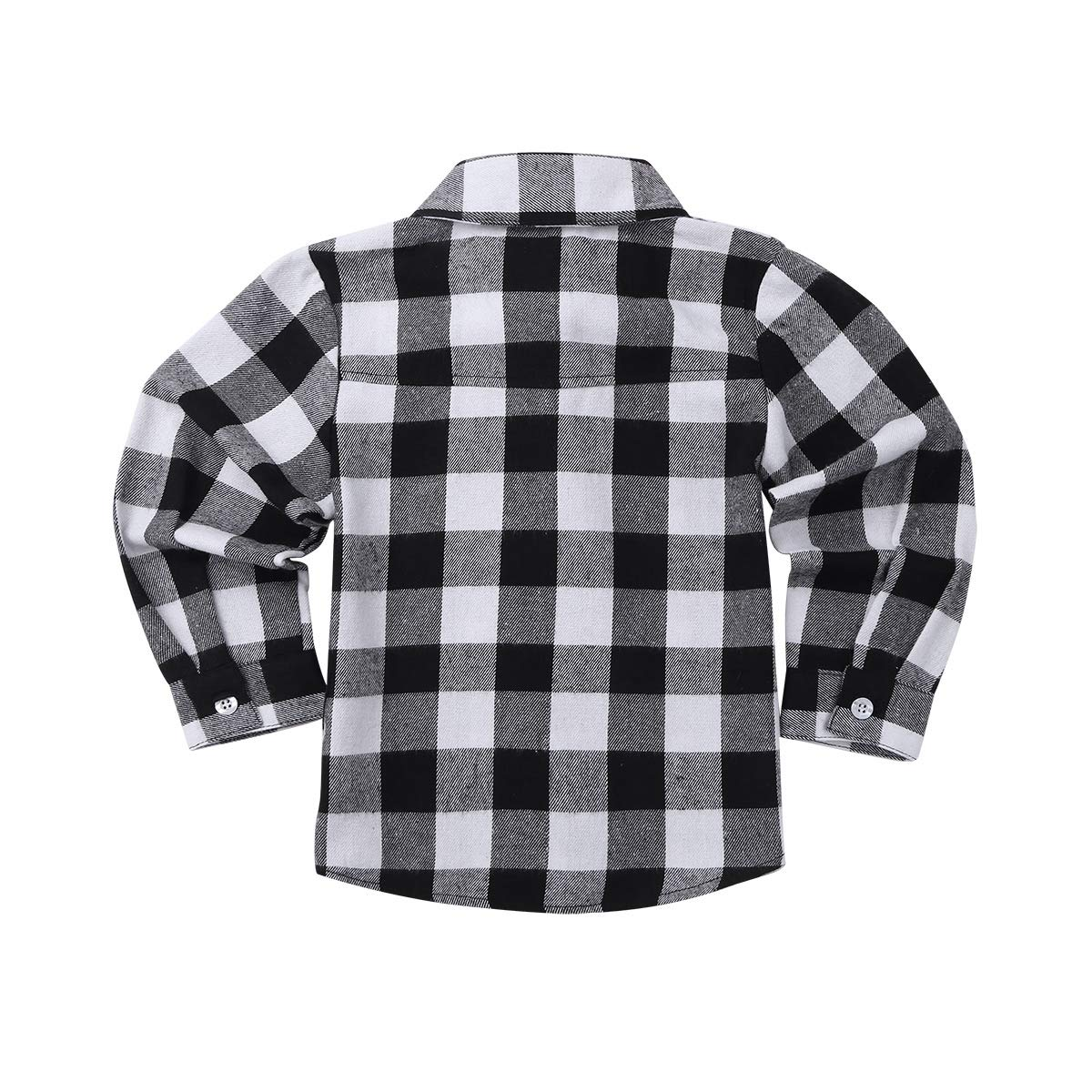 iEFiEL Kids Boys Girls Long Sleeve Button Down Plaid Cotton Shirt Baby Casual Tops Formal Suit