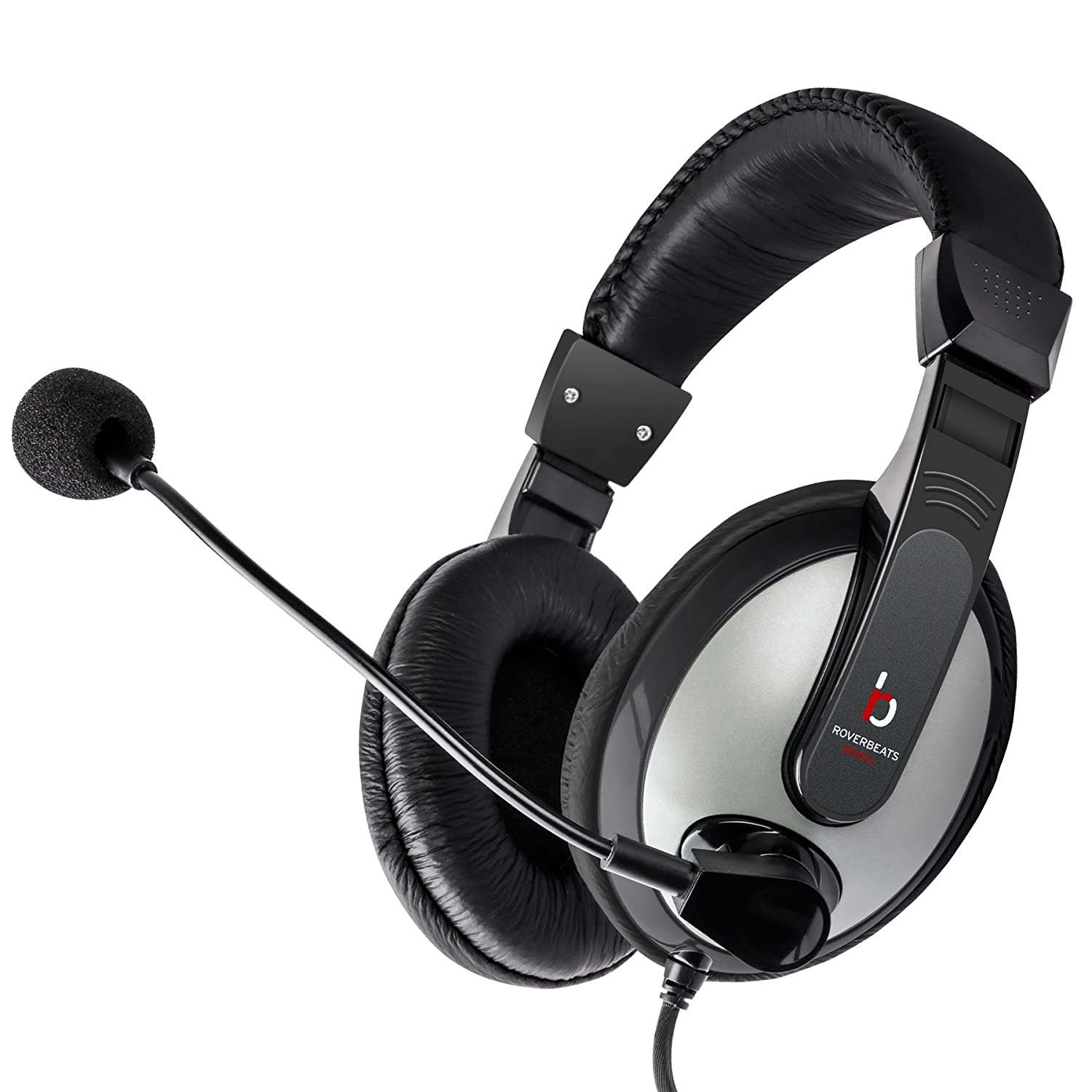 Etekcity RoverBeats Bravo Professional Over Ear Stereo Headset with Microphone, Headset Splitter, BlackGray