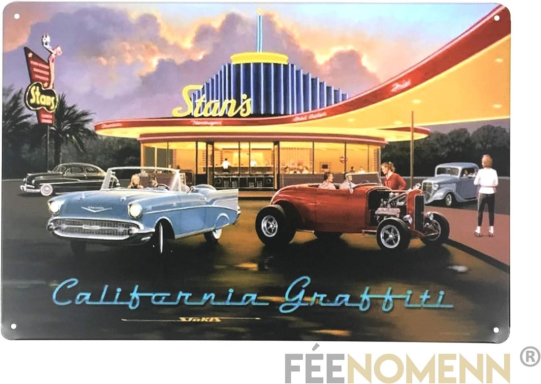 FEENOMENN Plaque M/étal D/éco Vintage chez Stan Diner Cafe Cruise Nights California 20x30cm