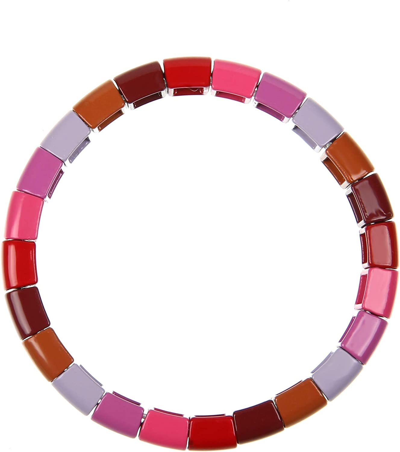 Coolcos Enamel Tile Bracelet Rainbow Colorful Tila Beads Bracelets for Women /& Men Color Block Elastic Bangle Bracelets