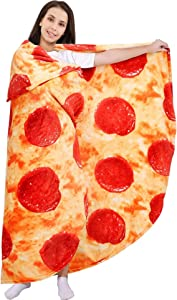 Pizza Blanket 71in Double Sided, Giant Round Novelty Pepperoni Wrap Throws Soft Cozy Flannel Realistic Food Plush Towels Funny Gifts for Kids Adults Family (Pizza, 71in)