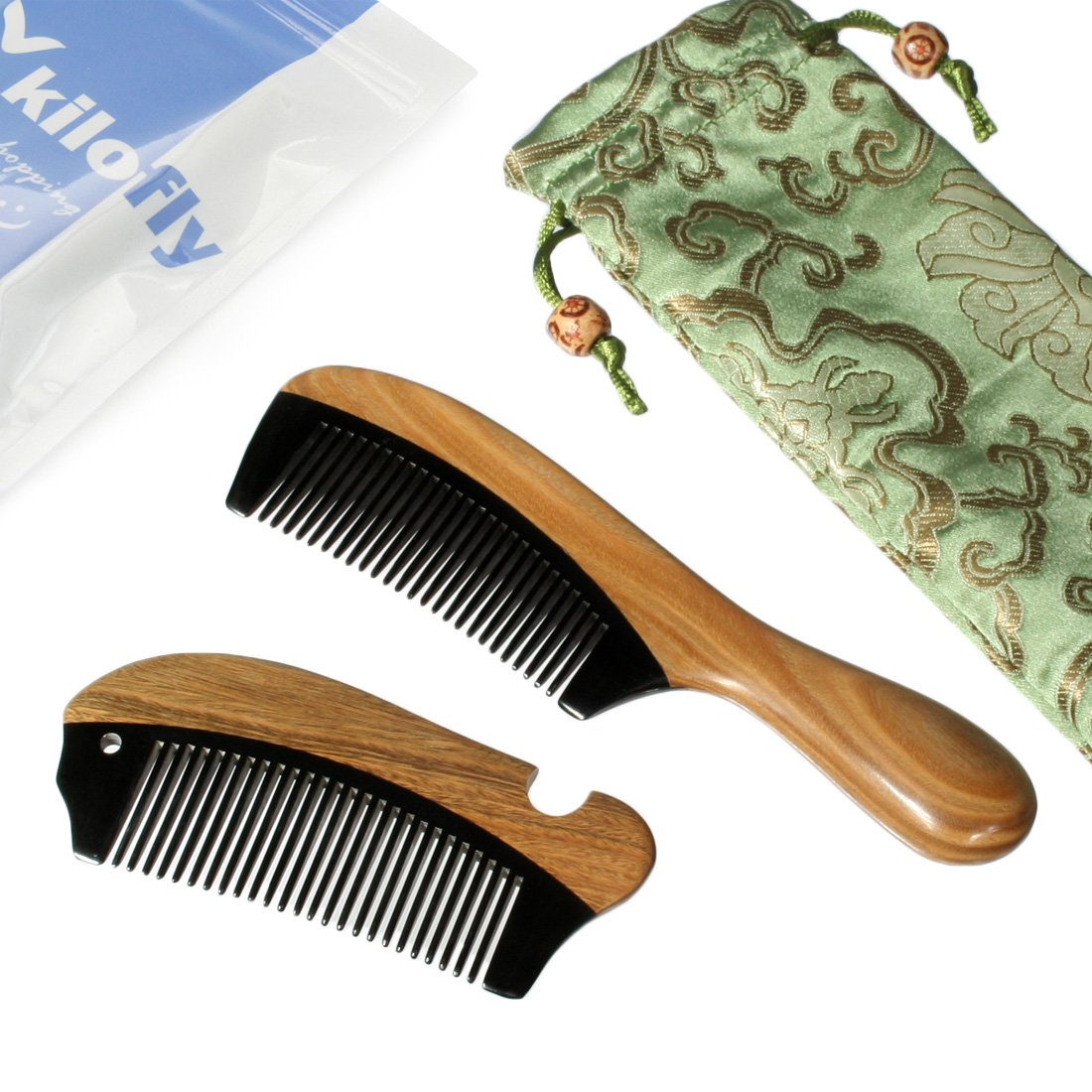 kilofly Genuine Natural Ox Horn & Sandalwood Comb [Set of 2] + Carrying Pouch