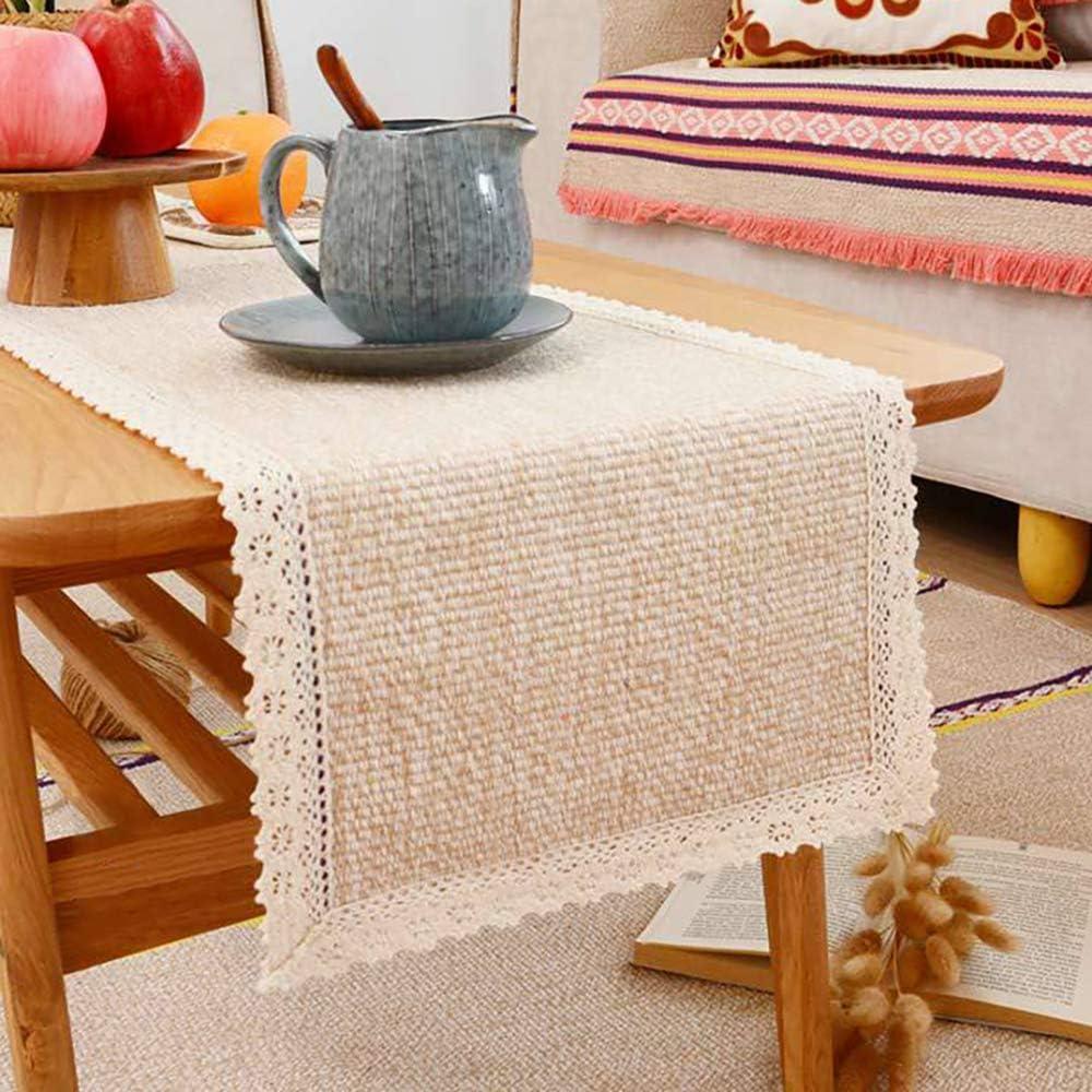 Tasera Burlap Cream Lace Linen Table Runner
