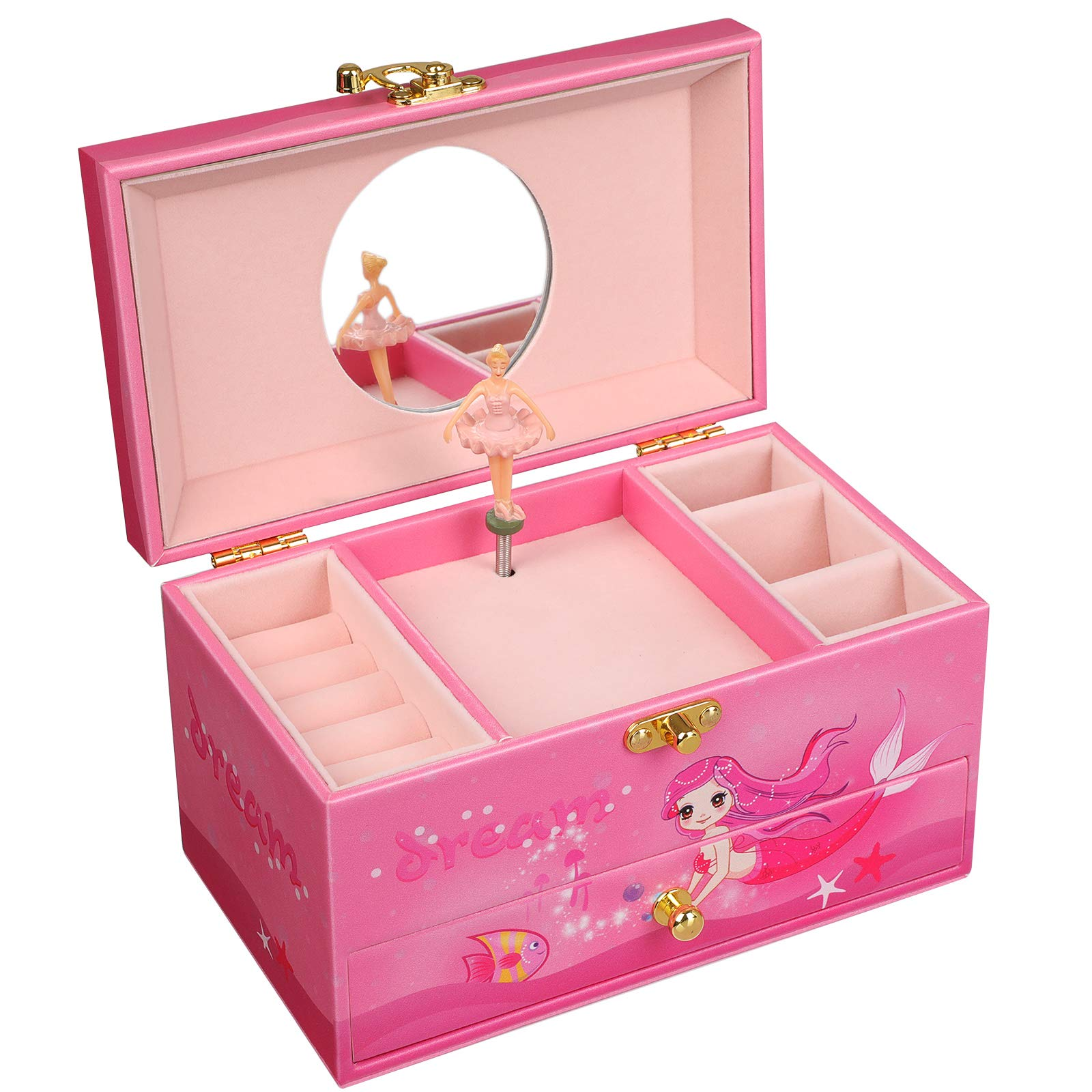 SONGMICS Ballerina Musical Jewelry Box for Little Girls, Faux Leather Music Box with Pullout Drawer, Pink Mermaid UJMC14PK