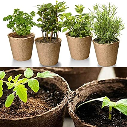 24pcs Square Peat Plant Starters Cups Nursery Herb Tray Garden