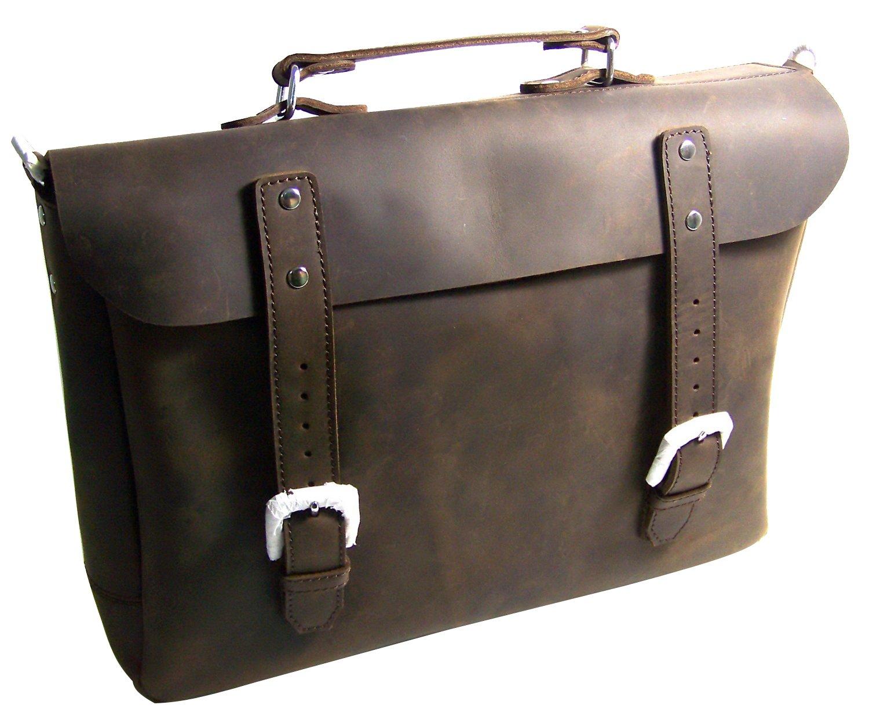 Vagabond Traveler Fine Leather Light Laptop Messenger Bag L52. Dark Brown