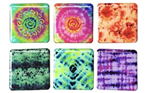 Tina's Essentials - Heavy Duty Magnets for Home, Office, School, or Leisure Setting, Refrigerator Magnet, Office Magnet, Locker Magnet- Colorful Tie Dye Design, 6 Piece Set of Square Magnets