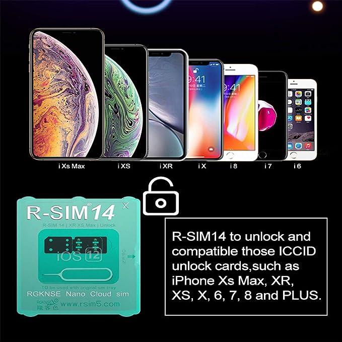 RSIM14 x Auto Unlock Chip Turbo Unlock SIM Compatible with iPhone Xr Xs Max  8 7 6 5 All Models, Unlocks Sprint, VERIZON, ATT, TMOBILE, Metro, XFINITY