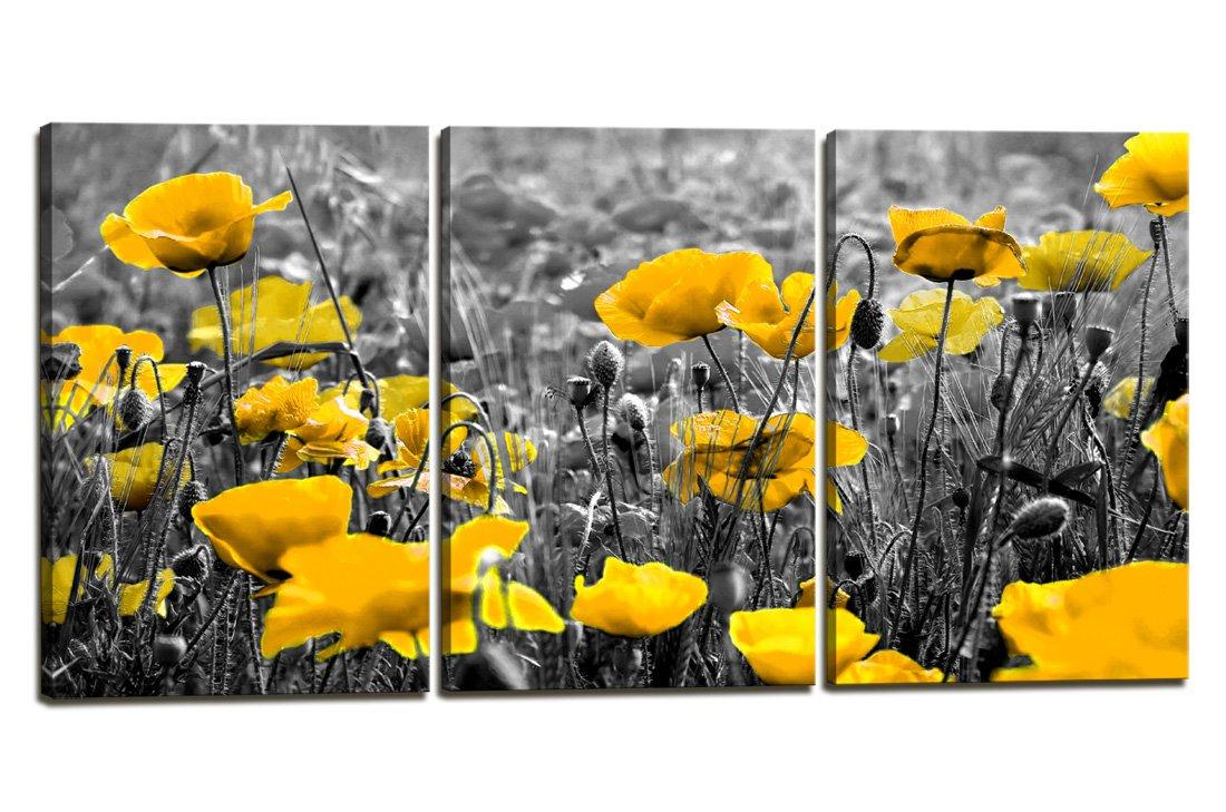 Amazon.com: Wall Decor Canvas Wall Art Yellow Grey Poppy Flowers ...
