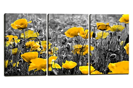 Yellow And Gray Canvas Wall Art.Wall Decor Yellow Grey Poppy Flowers Floral Wall Art 3 Panel Big Modern Flower Prints Wall Art Decoration Home And Office Size 20 X30 Inch X 3