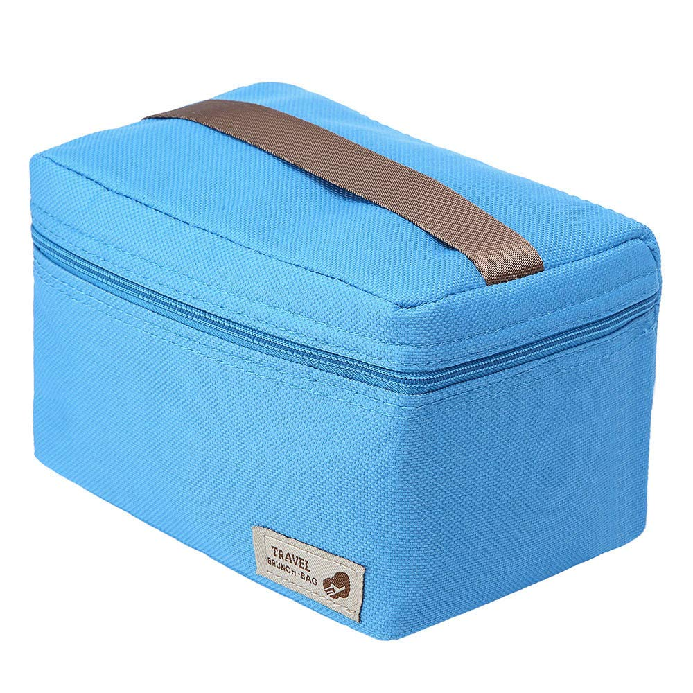 ♚Rendodon♚ Storage Bag, Household Storage, Foldable Lunch Box Bag, Lunch Picnic Storage Bag, Outdoor Portable Insulated Thermal Cooler Bento Lunch Box Picnic Storage Bag (Blue) by ♚Rendodon♚ (Image #4)