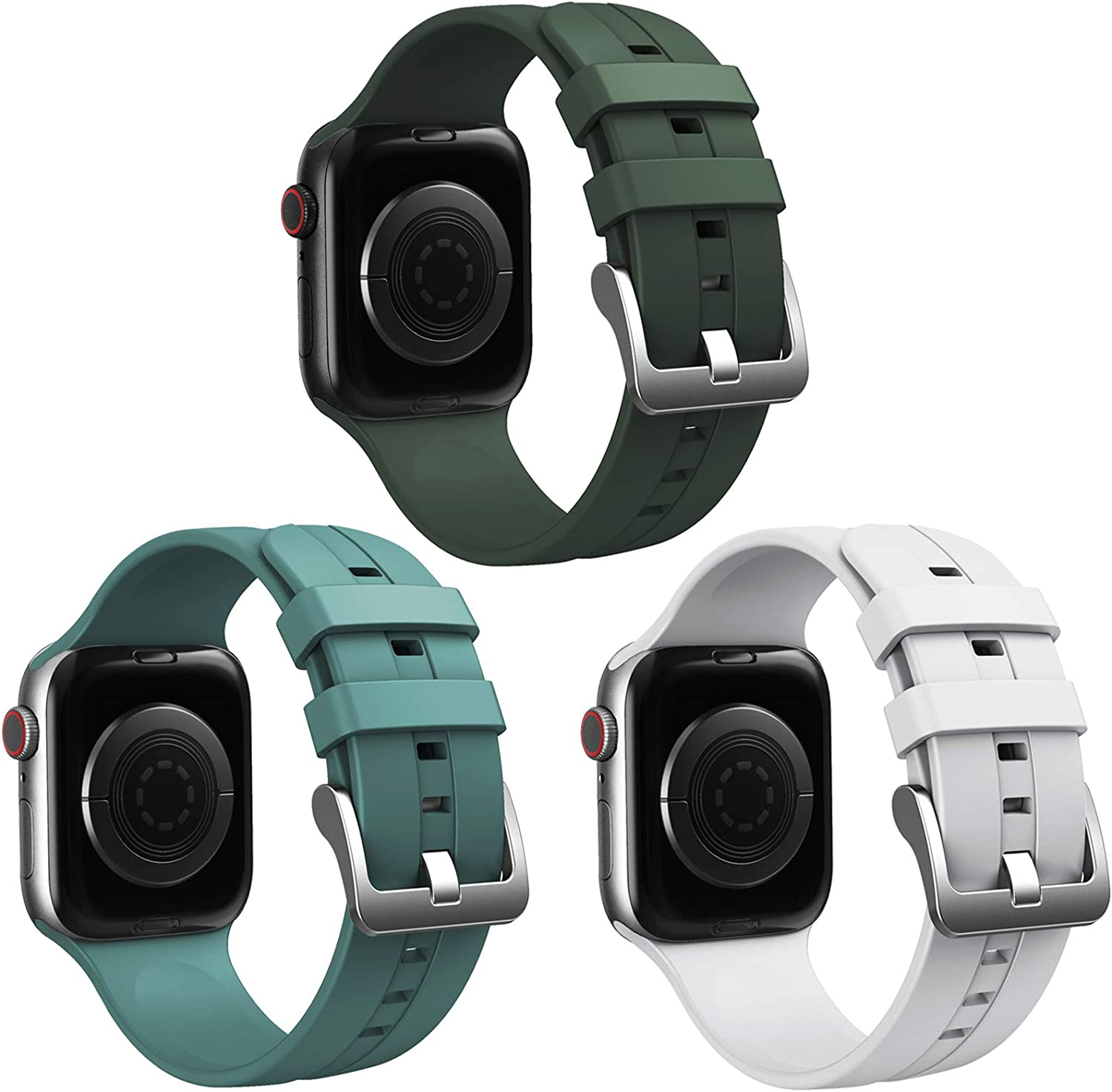 Honsdom Compatible with Apple Watch Bands 44mm 42mm 40mm 38mm for Women Men, Soft Silicone Sport Wristbands Replacement Strap for iWatch SE Series 6 5 4 3 2 1 (3Pack-Cactus,White,Cyprus Green)