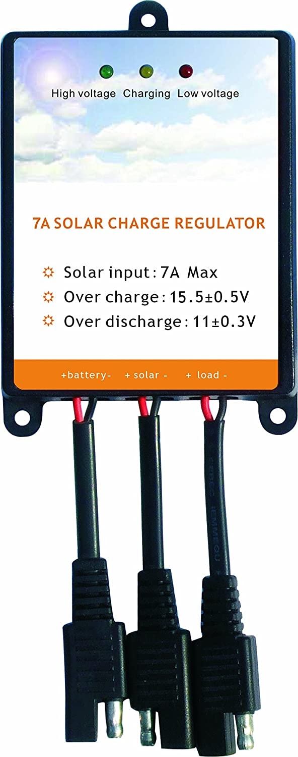 Sunway Solar Panels Charge Controller 12V Battery Regulator 7A For Safe Protection of 12Volt Solar Power Battery Charger, Solar Trickle Charger Maintainer and Solar Powered System Kit