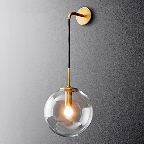 Hjxdtech Industrial Vintage Loft Bar 20cm Globe Drop Wall Lighting Fixture Bedroom Corridor Sconce Retro Clear Glass Sphere Wall Lamp Gold Metal