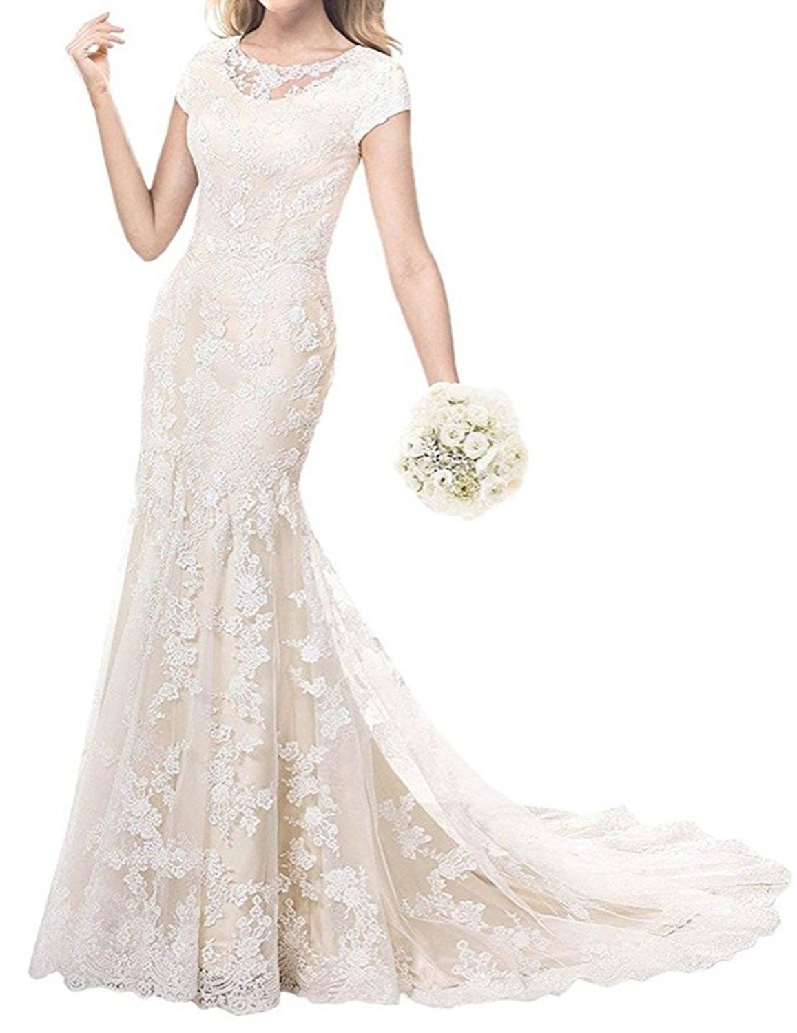 Ruiyuhong 2017 Modest Lace Wedding Dress with Sleeve Appliqued Bride Gown RHS51 Light Champagne 18W