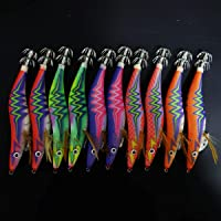 10x Size 3.5 YAMASHITA Glow in Dark Rattle Squid JIgs Squid Egi Shrimp jigs