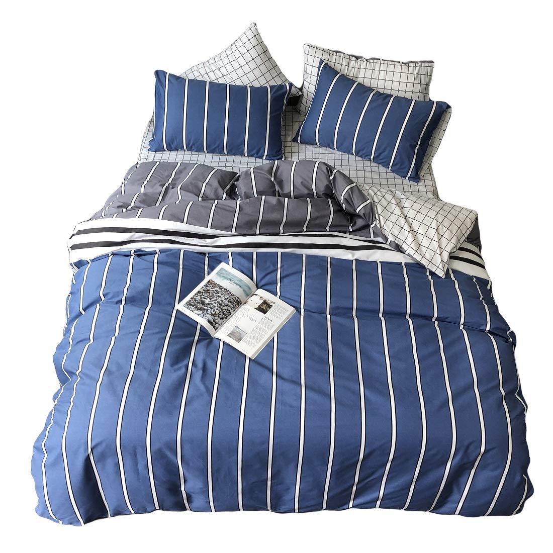 Striped Queen Duvet Cover Set,White Striped Duvet Cover for Boys,Jane yre Premium Soft Cotton 3 Pieces Reversible Plaid Queen Duvet Cover(NO Comforter)