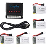 Coolplay® Syma X11 X11C 4pcs 3.7V 250mAh Battery with 4 In 1 Battery Charger Spare Parts for Syma RC Quadcopter Toys