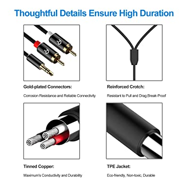 Rankie 3.5mm to 2-Male RCA Adapter Audio Stereo Cable, 6 Feet