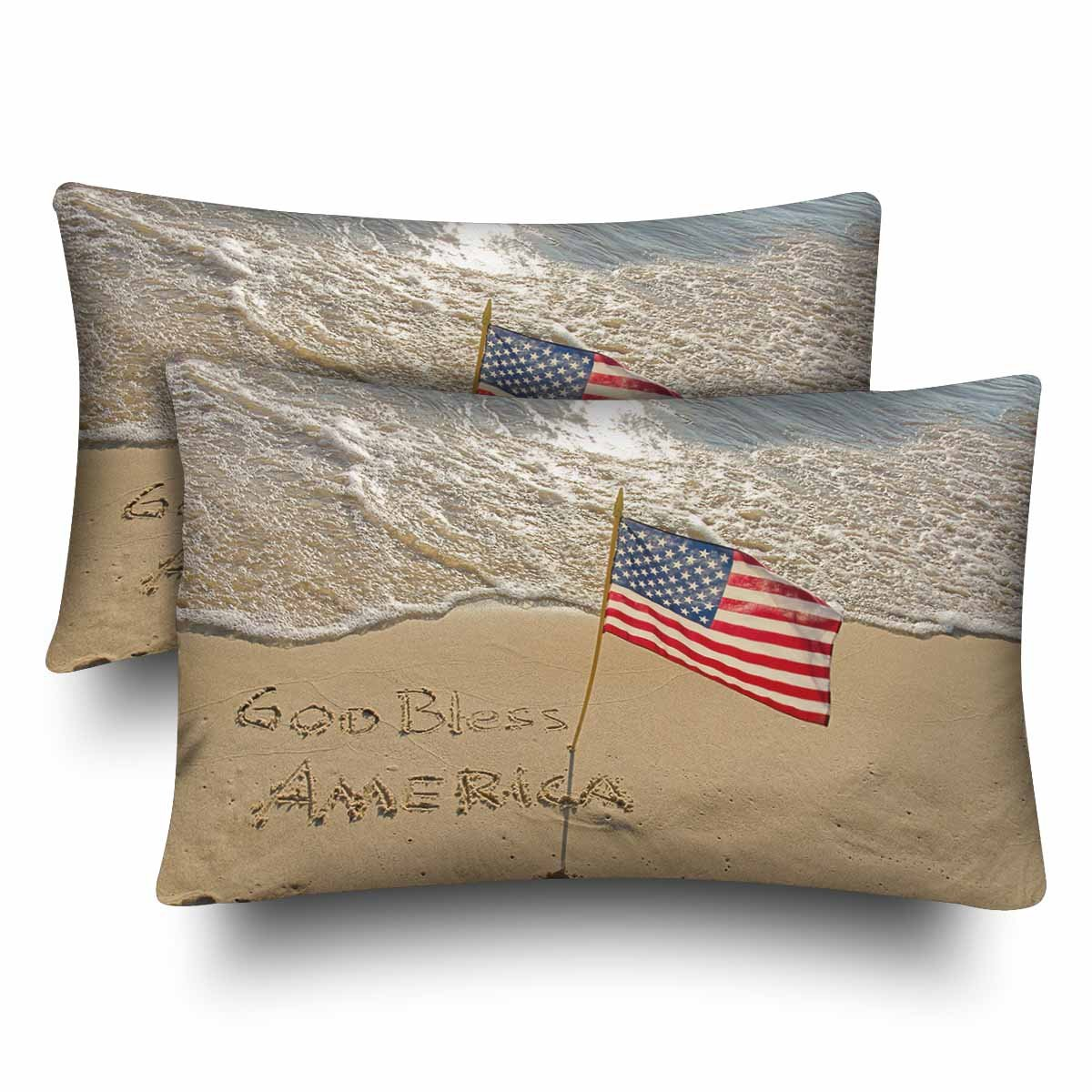 InterestPrint God Bless America Beach Sand with American Flag Pillow Cases Pillowcase Standard Size 20x30 Set of 2, 4th of July Independence Day Rectangle Pillow Covers for Home Bedding Decorative