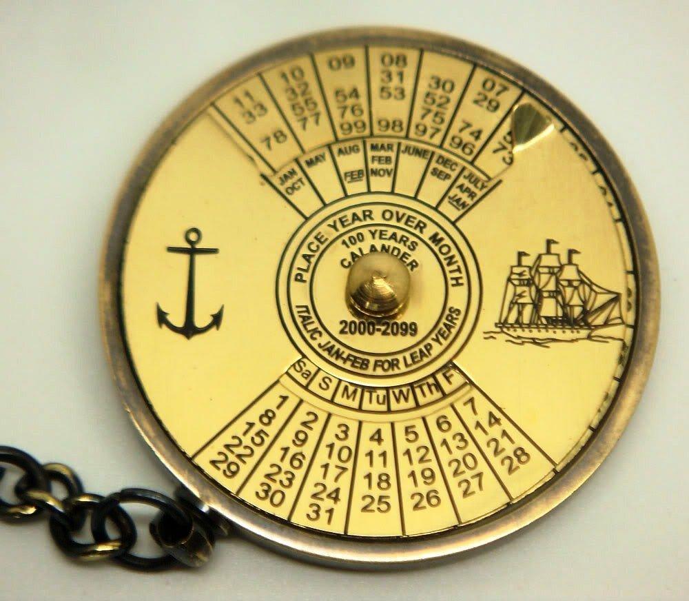 Brass Blessing Marine Solid Brass 100 yrs CALENDAR Key Chain from