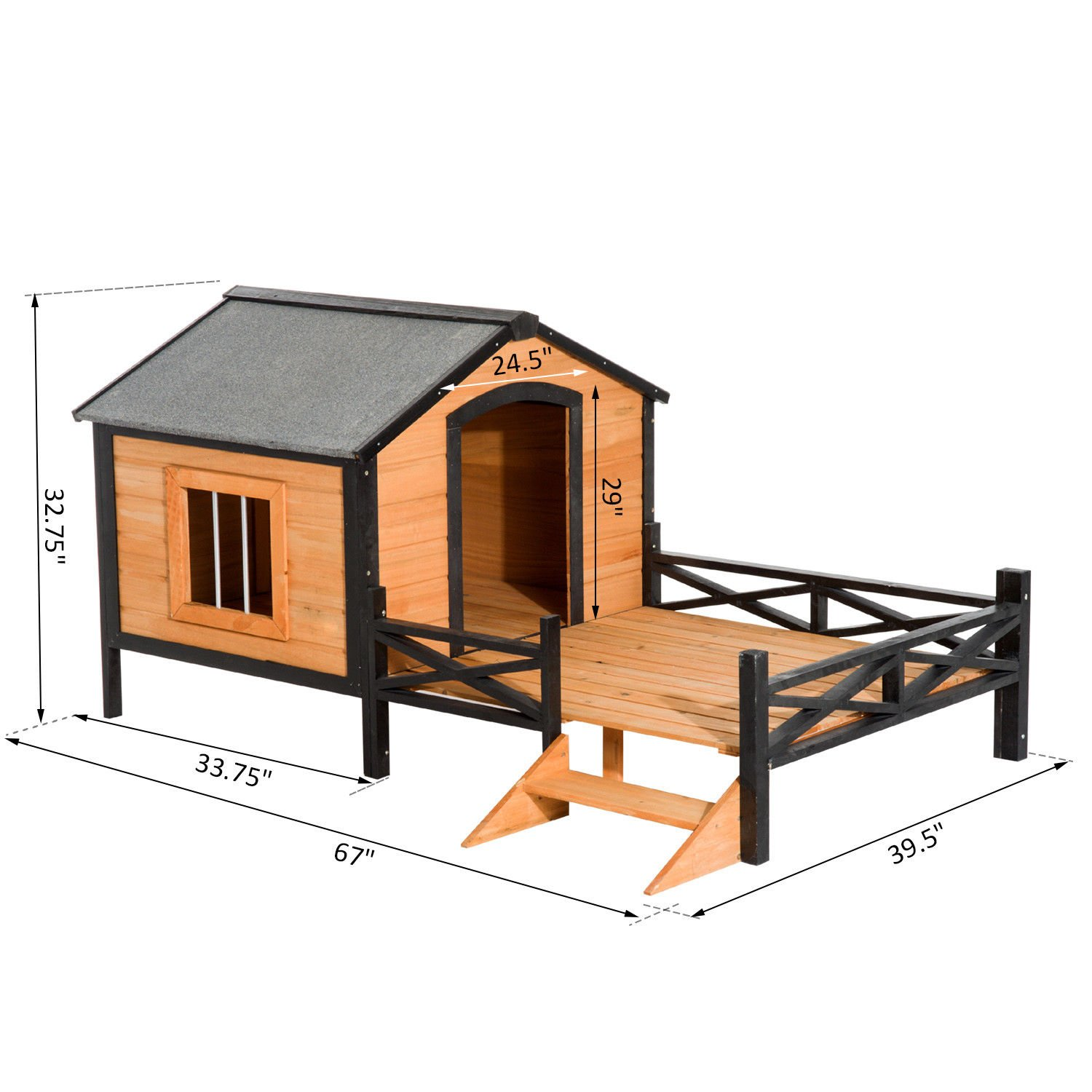 PawHut 67'' Large Wooden Cabin Style Elevated Outdoor Dog House with Porch by PawHut (Image #7)