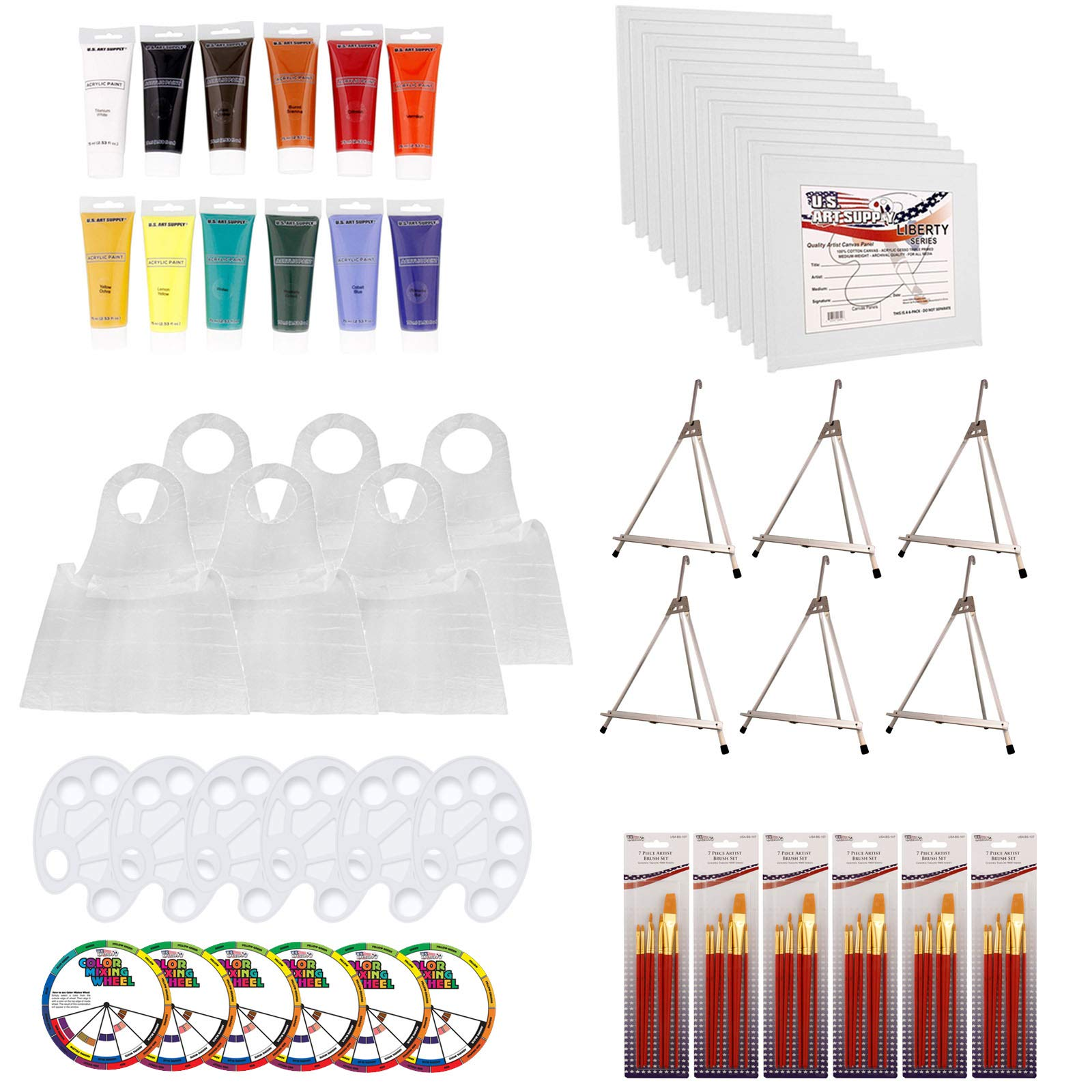 U.S. Art Supply Paint and Sip Art Party Painting Kit - 6 Easels, 12 Paint Tube Set, 12 Canvas Panels, 6 Brush Sets & 6 Disposable Poly Aprons