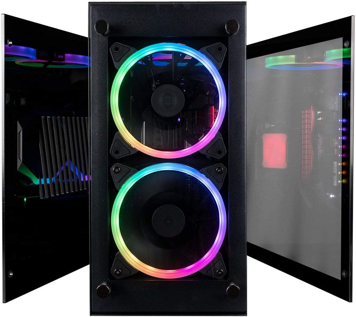 CUK Stratos Mini Gaming PC (Liquid Cooled AMD Ryzen 7, 32GB RAM, 512GB NVMe SSD + 1TB HDD, NVIDIA GeForce RTX 3070 8GB, 650W Gold PSU, AC WiFi, Windows 10 Home) Tiny RGB Desktop Computer for Gamers