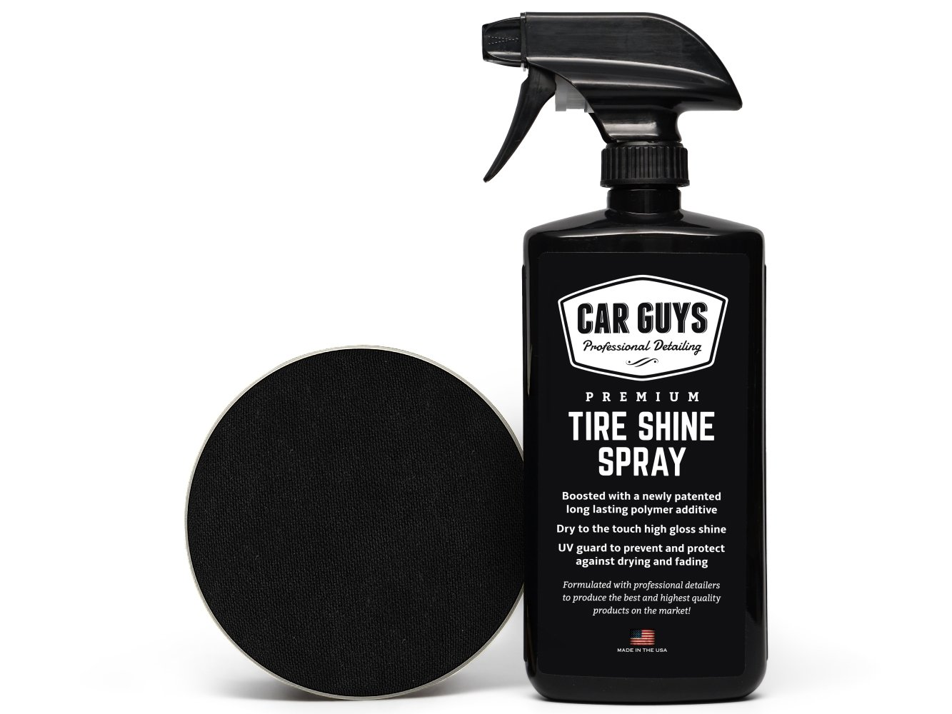 Tire Shine Spray – Best Tire Dressing Car Care Kit for Car Tires After a Car Wash – Car Detailing Kit for Wheels and Tires with Included Tire Shine Applicator – by Car Guys Auto Detailing Supplies
