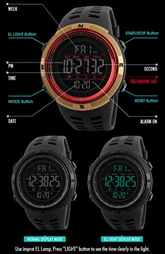 Amazon.com: Mens Digital Outdoor Sports Watch Waterproof Military Stopwatch Countdown Auto Date Alarm (SK 1251 All Black): Watches