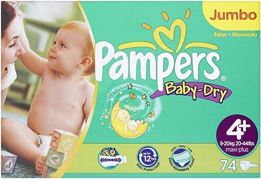 Pampers Baby-Dry tamaño 4 + Pañales (20 – 44 libras/9 – 20 kg) – 2 x Jumbo pack de 74 Pañales de tela (148): Amazon.es: Salud y cuidado personal