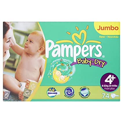 Pampers Baby-Dry tamaño 4 + Pañales (20 – 44 libras/9 –