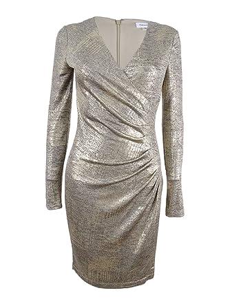 718565bc7d1cfa Amazon.com: Calvin Klein Womens Metallic Faux Wrap Cocktail Dress Gold 4:  Clothing