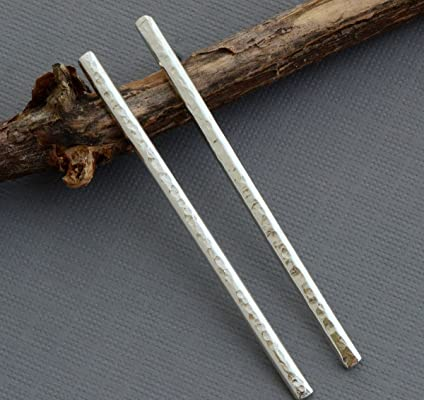 Long thin sterling silver hammered bar stud post earrings modern minimalist jewelry
