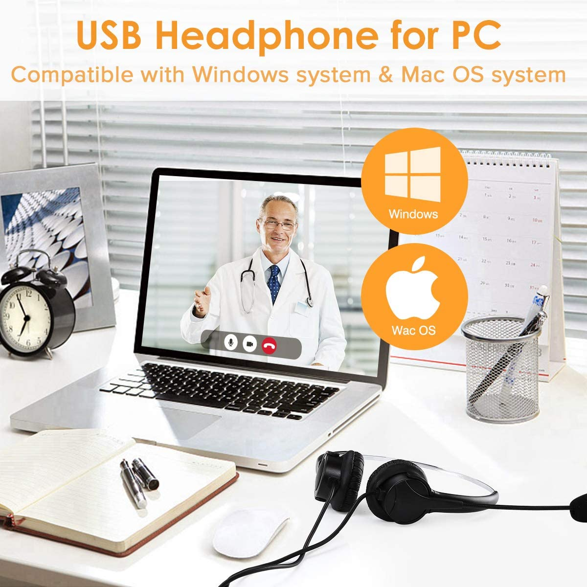 Elikliv Noise Cancelling USB Computer Headset with Audio Control for Office Center Calling USB Headset with Microphone for PC Online Course Study