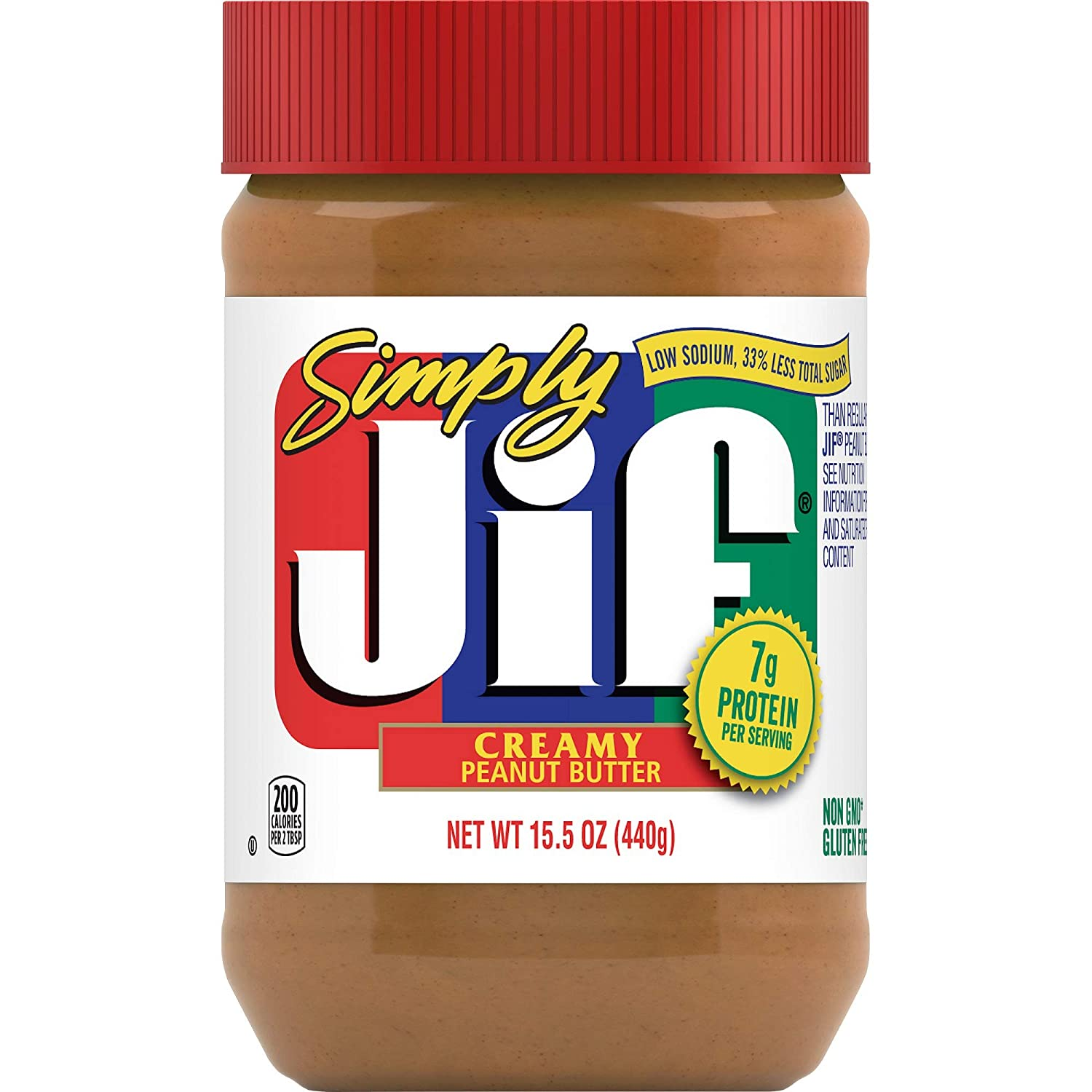 Simply Jif Creamy Peanut Butter, 15.5 Ounces (Pack of 12), 7g (7% DV) of Protein per Serving and 33% Less Sugar Than Regular Peanut Butter, Smooth, Creamy Texture, No Stir Peanut Butter