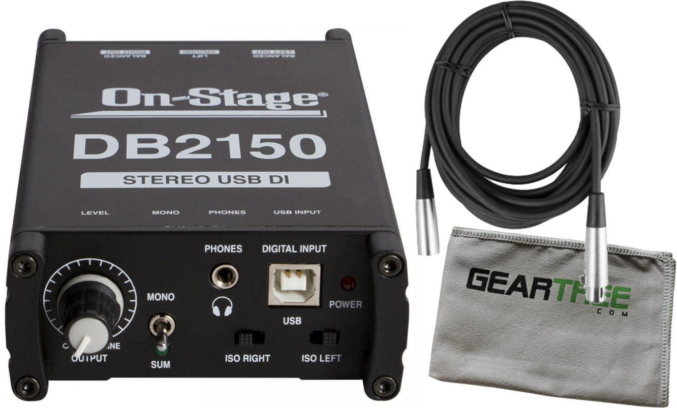 On-Stage DB2150 Stereo USB DI Direct Box Bundle w/Cable and Cloth by O N S T A G E