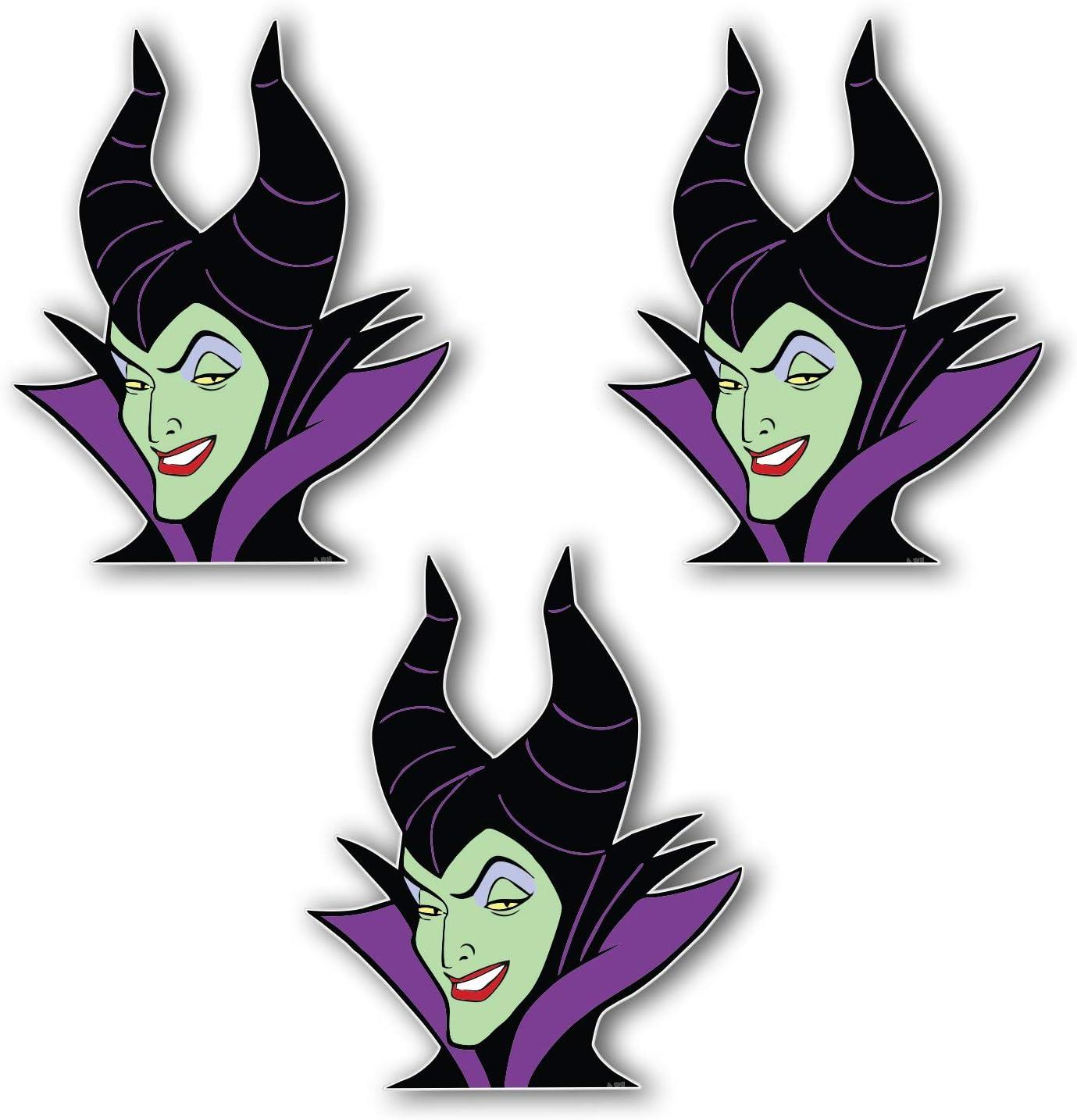 5 Longer Side Maleficent Cartoon Vinyl Sticker Art Decal Set of 3 Pieces